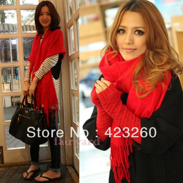 Winter Korea Multicolor Long Large Warm Soft Wrap Women Scarf Shawl Tassels Free Shipping(China (Mainland))