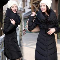 free shipping 2014 White duck down long design heap turtleneck belt slim waist down coat long outerwear women down