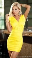 2014 New Fashion Black, Yellow Sexy Bodycon Club Wear Bandage hollow Slim v-neck Dress Party Evening spaghetti strap Dresses