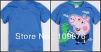 Free shipping 2013 Summer Kids peppa pig t-shirt children pure color short sleeve ,boys and girls cotton sport baby boy  WQ796