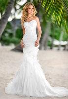 Hot selling Sweetheart White Ivory Mermaid Organza Wedding dress Custom-Made Bridal Gown