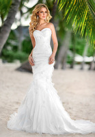Hot selling Sweetheart White Ivory Mermaid Organza Wedding dress Custom-Made Bridal Gown