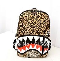 2014 Women's Harajuku Shark Backpack Schoolbags Shoulder Bag Man's GenuineLeopard PUBag