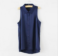 Hot Sell New 2014 Fashion Women Chiffon Blouse sleeveless shirt elegant casual brand design