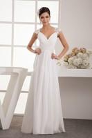 New White/Ivory Chiffon Wedding Dress Fashion V Neck Free Shipping Bridal Gown