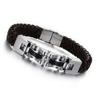 Fashion accessories jewelry genuine leather titanium bracelet male knitted hand ring bracelet