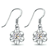Cubic zircon jewelry earrings 925 pure silver florid drop earring noble jewelry accessories