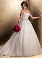 Hot sale White/ivory A Line Bridal Gown Organza Strapless Sexy Wedding Dress