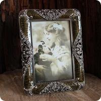 Classic  vintage tin rhinestone inlaying metal Rectangle photo frame home decor 6 inch