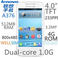 "Original Lenovo A376 Mobile phone Multi language 4.0""TFT 800x480 Dual-core1G 512MB RAM 4G ROM  Android 4.0 3.2MP GSM"