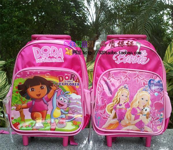Dora The Explorer Princess Trolley School BAGs Rolling Backpack Mochilas Kids Cartoon Children Knapsack Girls Wheeled Backpack(China (Mainland))
