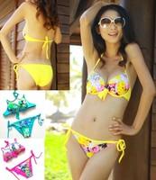 2014 new women's sexy swimwear print flower Push UP swimsuit bikini