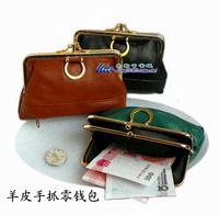 Sheepskin clutch bag wallet double layer hasp coin case coin purse women's handbag unionpay card holder genuine leather small