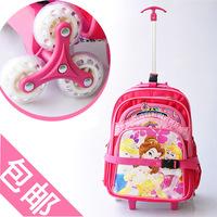 FREESHIP 3 Wheels CUTE PINK Princess Children School bags Primary student trolley backpack bag Girls rolling knapsack on wheels