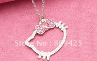 Free Shipping wholesale hello kitty cheap jewelry necklace pendands pink heart glass stone bow hello kitty mascot costume