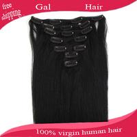 "Grade 5A 15""-22"" rosa hair products malaysian virgin hair straight human hair clip in extensions nautal black 70g free shipping"
