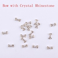 50 pcs Alloy Bow with Crystal Rhinestone Nail Art Decoration 3D Nail Supplies