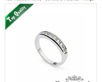 Classic Wedding Ring 18K Platinum Plated Ring Made with Genuine Austrian Crystals Full Sizes Wh