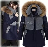 Free Shipping Women Autumn Winter Warm Woolen Coat Women Raccoon Fur Collar Clothing