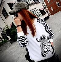 2014 female autumn and winter loose plus size zebra print batwing sleeve loose long-sleeve sweatshirt