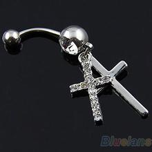 Doble Ombligo Cruz cuelga el anillo del ombligo Body Piercing Joyería 01J8(China (Mainland))