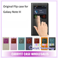 Genuine Leather Flip phone cases for Samsung Galaxy Note 3 case GT-N9000 N7200  With S View,Smart Chip, 7 colors, 10pcs/lot