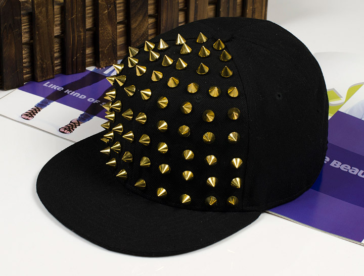 2014 New Arrive Fashion punk rivets hip hop flat along baseball caps peaked hats Snapback caps for man and woman free shipping(China (Mainland))