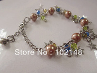 free shipping new design crystal  hand chain charm bracelet with pearl & star valintine's gift