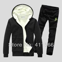 Free Shipping Korean Style Lover's Winter Add Wool Warm Tracksuits Casual Fashion Sporty Hooded  Sweatsuit Sportwear