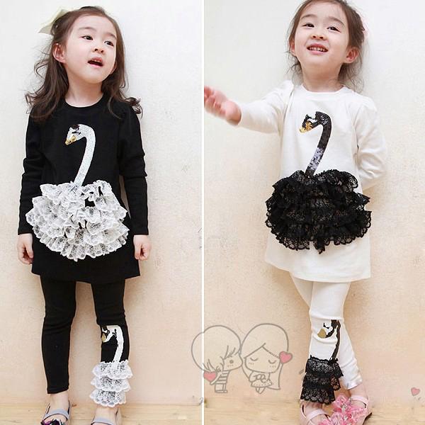 KNB 2015 Autumn Winter Kids Girl Clothes Set Brand Girls T Shirt and Leggings Suit Cartoon Baby Girls Swan Clothes Set ACS073(China (Mainland))