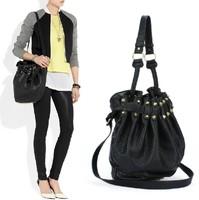 Women's Celebrity Studded Embossing Faux Leather Bag Shoulder Bag Bucket