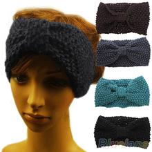 Hair accessories Winter Crochet Flower Bow Knitted Headwrap Headband Ear Warmer Hair Muffs Band 05IS(China (Mainland))