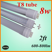 2pcs/lot  T8 led tube 60cm led tube 8w 85-265v G13 2ft light bulbS 600-800lm 230v smd3014 lamp led fluorescent lamp free shiping