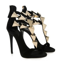 Hot Sale New 2014 Women Pumps High Heel Sandals Fashion Brand Sapatos Gladiator Shoes with Metal