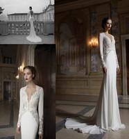 2014 Newl Amazing Design Appliqued Chiffon Long Sleeve Sheath Wedding Dresses Bridal Gowns Wedding Gowns Custom-made