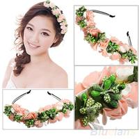 Hair accessories Pink/White Flower Boho Floral Garland Festival Wedding Bridal Hairband 05J4