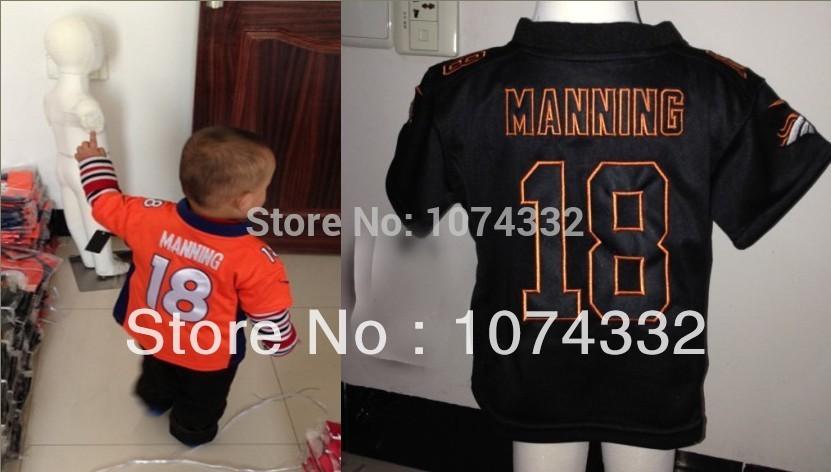 Baby Jersey 2~4Years Old Denver #18 Peyton Manning Orange/Black American Football Jersey,Size 2T,3,4T,Embroidery Logo,Mix Order(China (Mainland))