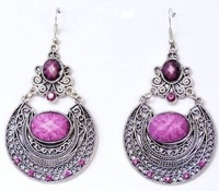 Free shipping 5pairs/lot Silver and Black Hollow Out Carve Pattern Filigree Flower Purple Drip Drop Dangle Earrings Wholesales
