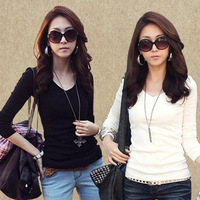Free shipping--- women's V-neck slim milk, silk plus velvet basic shirt long-sleeve T-shirt