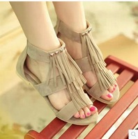big size 34-43 Free Shipping 2014  new fashion tassel flat sandals for women flip-flops and women's summer shoes 3-5