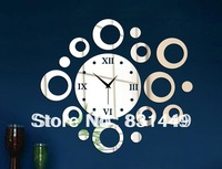 crafts Crystal stereo fashion clock home decoration mirror wall stickers clock living room wall clock diy