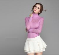 autumn winter women pullover Fashion lace knitted Long-sleeve wool turtleneck warm sweater Vintage Knitwear crochet tops WS-112