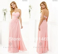 New Sexy 2014 Pink Formal Evening Dresses  Sweetheart  Beaded Cut Out Sexy Back Bodice Ruched Chiffon Front Slit Prom Party Gown