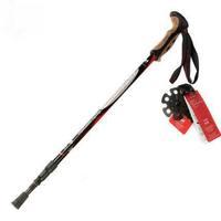 Aluminum 3Section Flexible Adjust Shock Absorption Alpenstock Tungsten Steel Tip Walking Stick Hiking Light 240g Trekking Pole