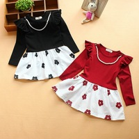 Retail 1PC new 2014 spring children clothing girls long sleeve flower dress