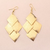 HOT SALE ! 2-color Europe & United States style Fashion atmospheric women's Cute Quadrilateral Alloy stud earrings