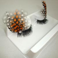 Professional fashion multicolour feather long lips buddhistan false eyelashes 2 pair/ lot