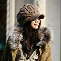 Fashion Womens Elegant Knitting Wool Crochet Braided Flat Brim Cap Winter Warm Casual 8 Knitted Pattern Decoration Hat Hat-0234