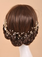 F141 golden bridal handmade wedding crown pearl rhinestone Shining Fashion hair accessory  very good quality
