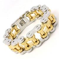 194g Heavy 18k Golden Bicycle Chain Cool Man Bracelet 316L Stainless Steel Hot Biker Style Top Quality Design Bracelet